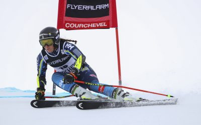 Sweden's Sara Hector competes during an alpine ski, women's World Cup giant slalom in Courchevel, France, Monday, Dec. 17, 2019.(AP Photo/Marco Trovati)  AJM111