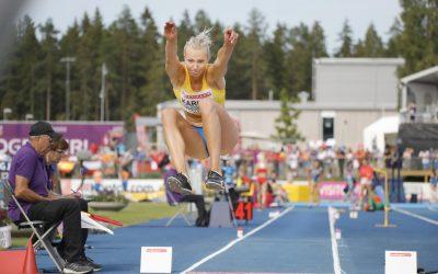 GÄVLE 20190714 Kaiza Karlén i längdhopp vid U23-EM i friidrott i Gävle under söndagen. Foto: Christine Olsson / TT / kod 10430
